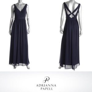 Adrianna Papell Navy Chiffon Gown Size 18